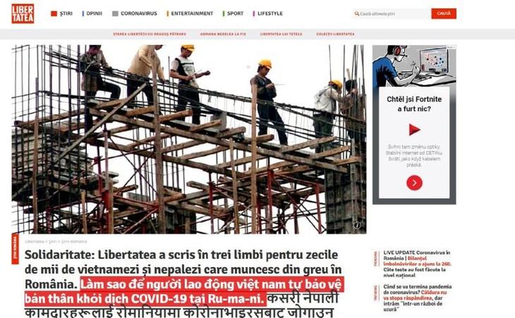 Báo Romania đăng bài viết bằng tiếng Việt giúp lao động Việt Nam phòng tránh dịch COVID-19 - ảnh 1