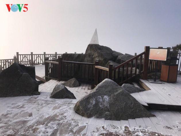 Salju menutupi puncak Fansipan  - ảnh 1