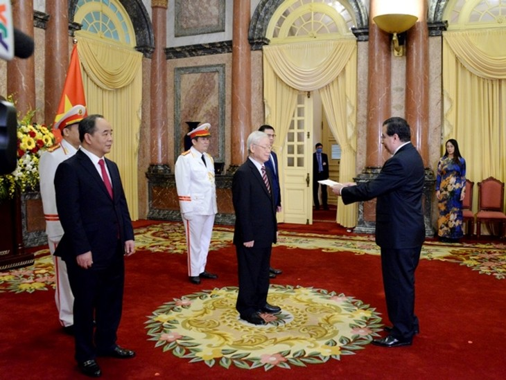 Party chief and President receives credentials from foreign ambassadors  - ảnh 1