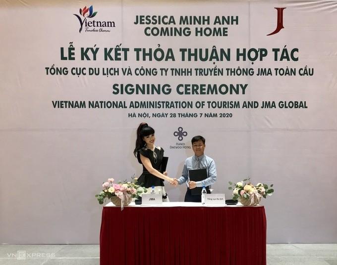 Вьетнамская супермодель Джессика Минь Ань рекламирует достопримечательности Вьетнама  - ảnh 1