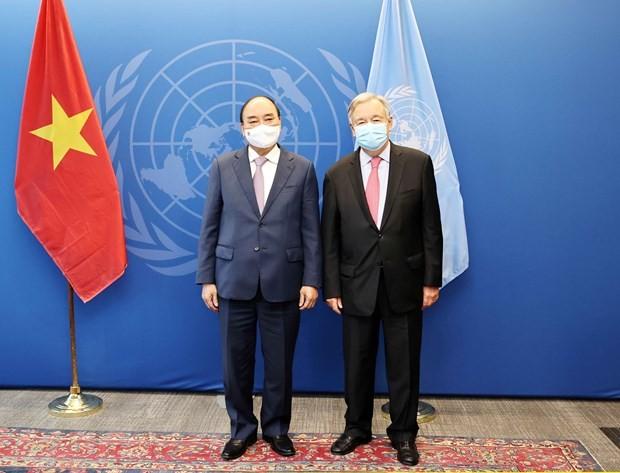Президент Вьетнама встретился с генсеком ООН и председателем ГА ООН - ảnh 1