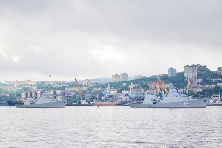 Vietnamese Navy Gepard frigates join military parade in Russia - ảnh 3