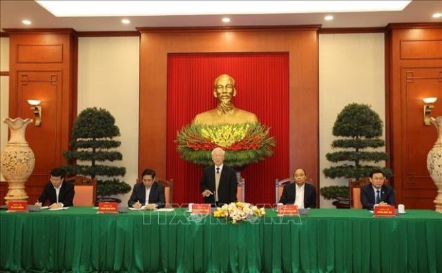 Bộ Chính trị gặp mặt nguyên Ủy viên Bộ Chính trị, Ban Bí thư và nguyên Ủy viên Trung ương Đảng khóa XII - ảnh 1