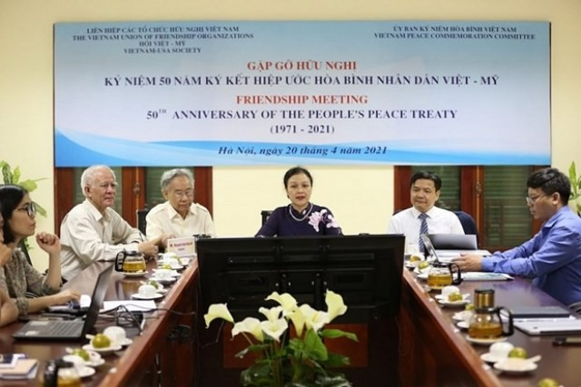 Gặp gỡ hữu nghị nhân 50 năm ký kết Hiệp ước hòa bình nhân dân Việt - Mỹ - ảnh 1