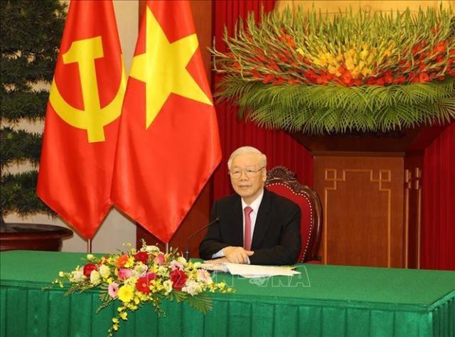 Tổng Bí thư Nguyễn Phú Trọng và Tổng Bí thư, Chủ tịch nước Tập cận Bình điện đàm - ảnh 1