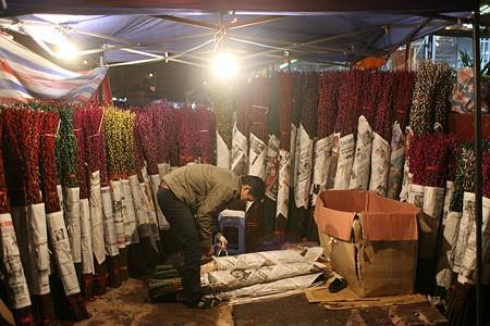Ambiente del Tet en mercado de flores de Quang An - ảnh 1