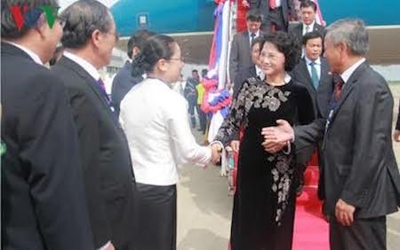Jefa del Parlamento de Vietnam visita Laos  - ảnh 1