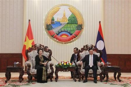 Presidenta del Parlamento de Vietnam reunida con primer ministro laosiano  - ảnh 1