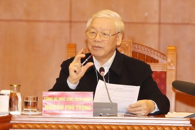 Máximo líder vietnamita orienta la perfección de documentos para XIII Congreso del Partido Comunista - ảnh 1