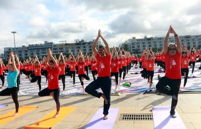 Miles de personas se suman al Día Internacional del Yoga en Ha Long - ảnh 1