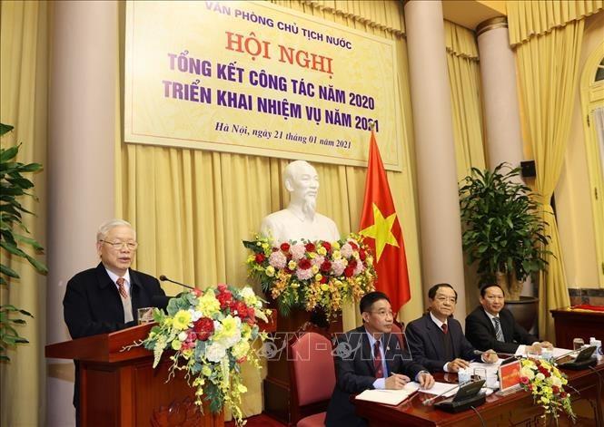 Revisan los trabajos de la Oficina de la Presidencia de Vietnam - ảnh 1