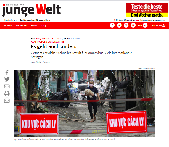 สื่อเยอรมนีชื่นชมเวียดนามเป็นฝ่ายรุกและเคร่งครัดในการป้องกันและควบคุมการแพร่ระบาดของโรคโควิด – 19 - ảnh 1