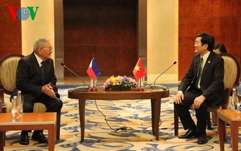 Chủ tịch nước Trương Tấn Sang tiếp Chủ tịch Hạ viện Philippines  - ảnh 1