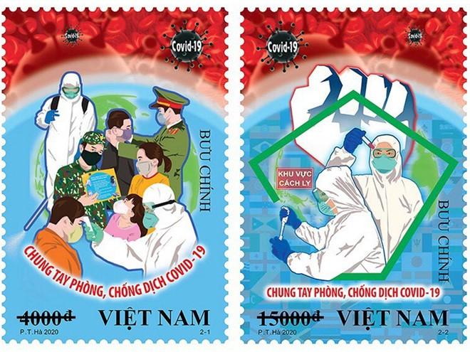 """Phát hành bộ tem """"Chung tay phòng, chống dịch Covid-19"""" của Họa sỹ Phạm Trung Hà  - ảnh 1"""