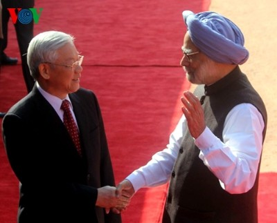 Lễ đón Tổng Bí thư Nguyễn Phú Trọng diễn ra trọng thể tại Dinh Tổng thống Ấn Độ    - ảnh 1