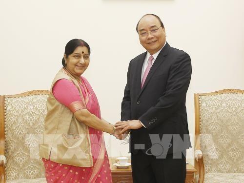 Thủ tướng Nguyễn Xuân Phúc tiếp Bộ trưởng Ngoại giao Ấn Độ Sushma Swaraj - ảnh 1