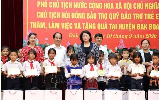 Phó Chủ tịch nước Đặng Thị Ngọc Thịnh tặng quà người có công với cách mạng, trao bổng cho học sinh nghèo tại Gia Lai - ảnh 1
