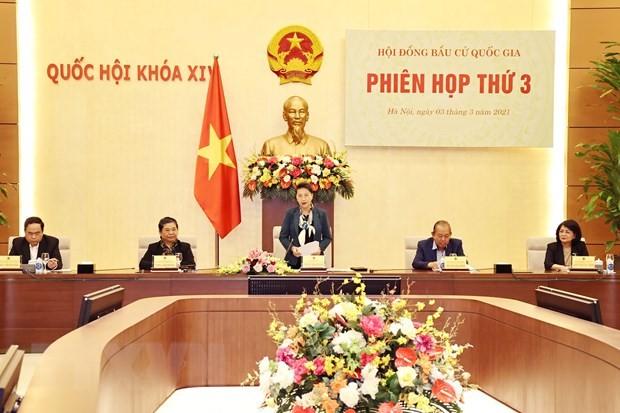 Chủ tịch Quốc hội Nguyễn Thị Kim Ngân chủ trì phiên họp thứ ba của Hội đồng Bầu cử quốc gia - ảnh 1