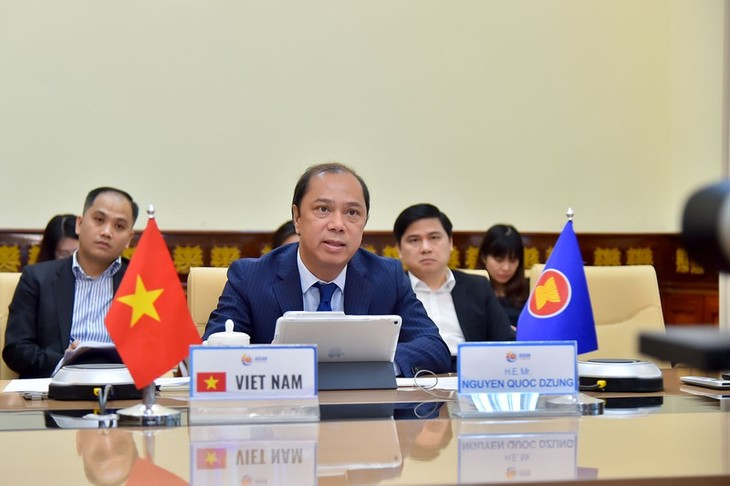 Celebran videoconferencia de altos funcionarios de la Asean - ảnh 1