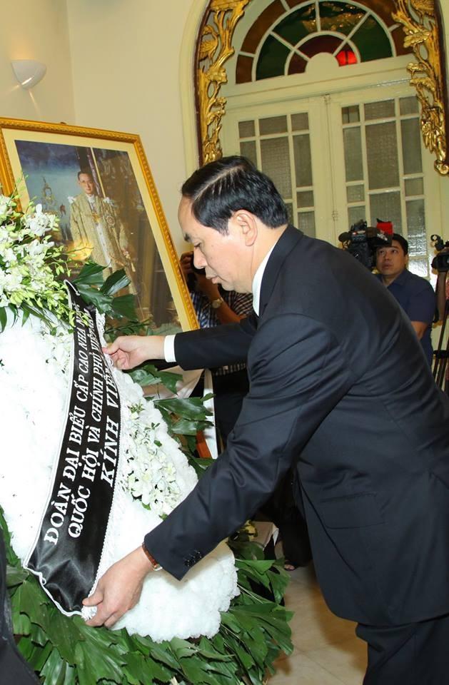 ผู้นำเวียดนามเข้าร่วมพิธีถวายอาลัยพระบาทสมเด็จพระเจ้าอยู่หัวในพระบรมโกศ - ảnh 3