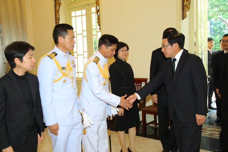 ผู้นำเวียดนามเข้าร่วมพิธีถวายอาลัยพระบาทสมเด็จพระเจ้าอยู่หัวในพระบรมโกศ - ảnh 6