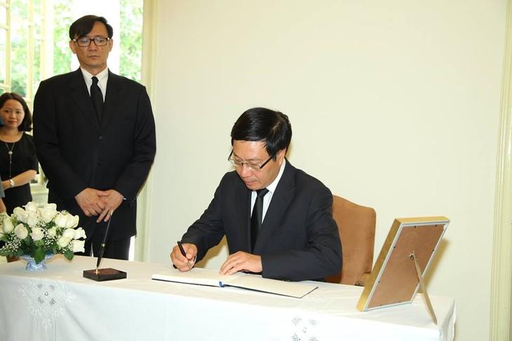 ผู้นำเวียดนามเข้าร่วมพิธีถวายอาลัยพระบาทสมเด็จพระเจ้าอยู่หัวในพระบรมโกศ - ảnh 8