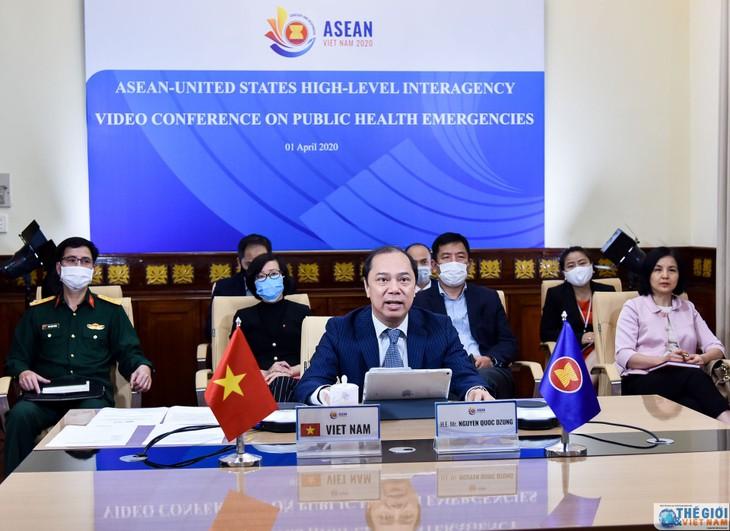 การประชุมออนไลน์เจ้าหน้าที่อาวุโสอาเซียน-สหรัฐเกี่ยวกับกรณีสาธารณสุขฉุกเฉิน - ảnh 1