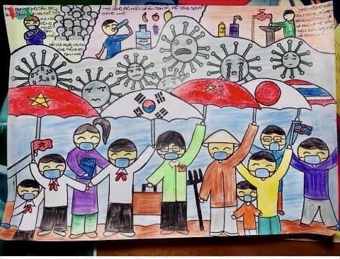 เด็กๆในนครเกิ่นเทอกับภาพวาดในสถานการณ์การแพร่ระบาดของโรคโควิด-19 - ảnh 13