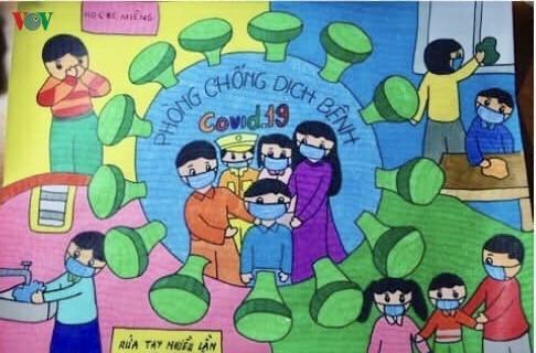 เด็กๆในนครเกิ่นเทอกับภาพวาดในสถานการณ์การแพร่ระบาดของโรคโควิด-19 - ảnh 3