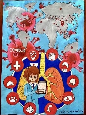 เด็กๆในนครเกิ่นเทอกับภาพวาดในสถานการณ์การแพร่ระบาดของโรคโควิด-19 - ảnh 5