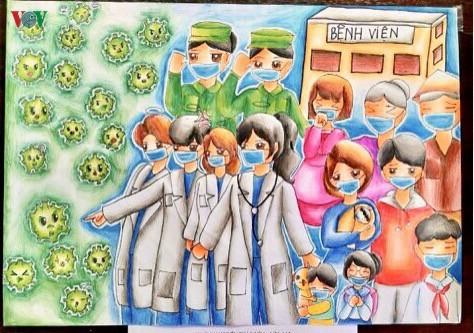 เด็กๆในนครเกิ่นเทอกับภาพวาดในสถานการณ์การแพร่ระบาดของโรคโควิด-19 - ảnh 6