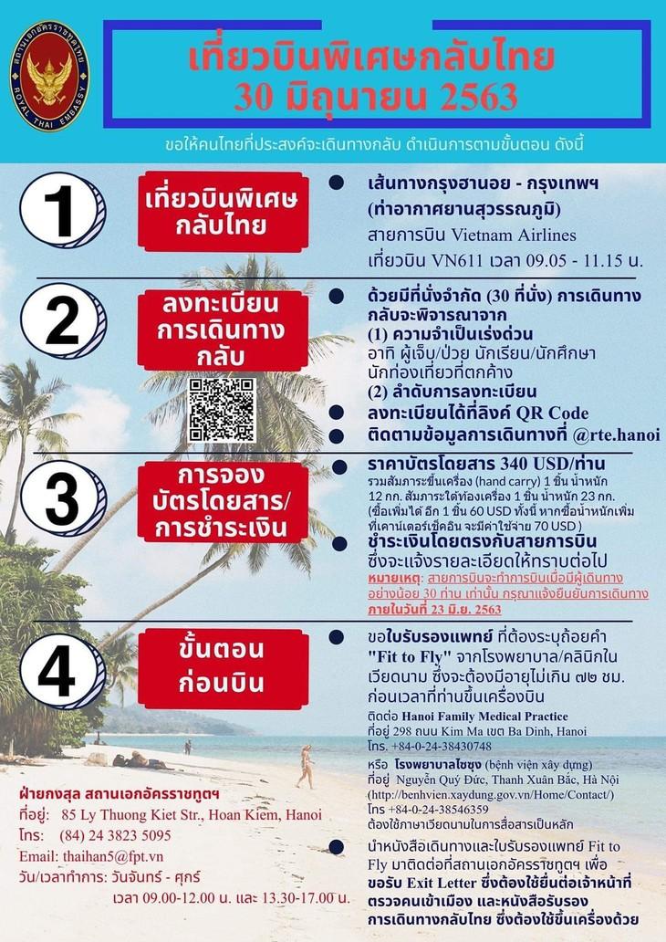 สถานทูตไทยในเวียดนามจัดเที่ยวบินพิเศษกลับไทยในวันที่ ๓๐ มิถุนายนปี๒๕๖๓ - ảnh 1