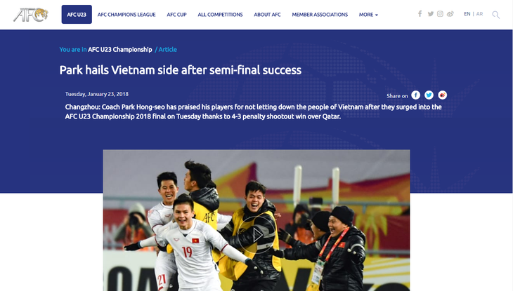 Freude über den Sieg der U23-Fußballmannschaft im Halbfinale der U23-Fußballasienmeisterschaft - ảnh 1