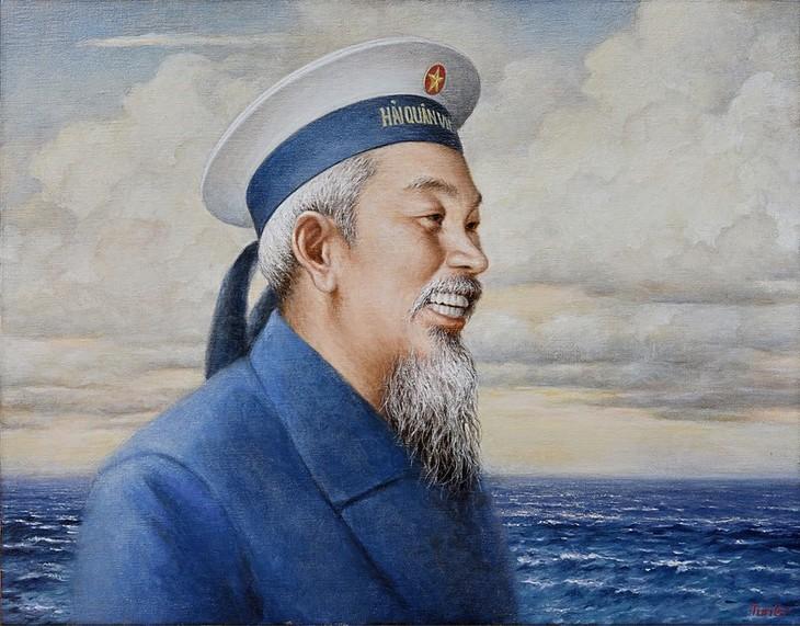 Malerin Nguyen Thu Thuy schenkt dem Marine-Oberkommando Bilder über Präsident Ho Chi Minh - ảnh 1