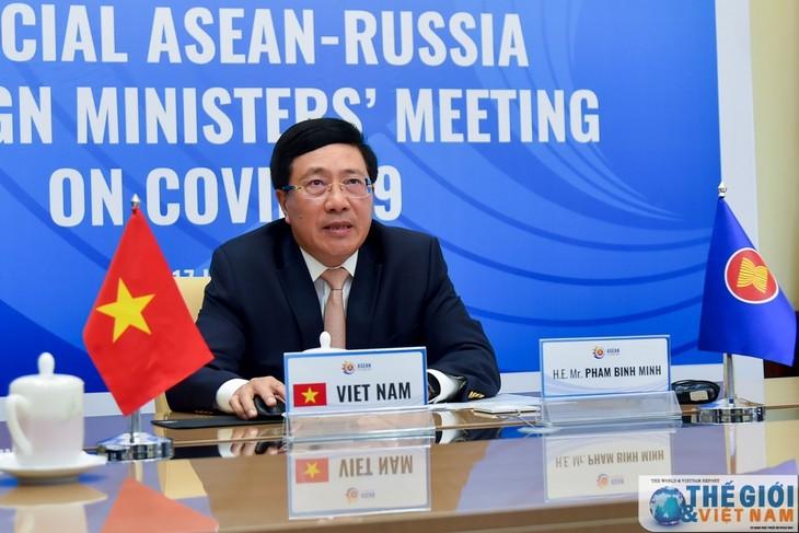 Sonderonline-Konferenz der Außenminister der ASEAN und Russlands über die Bekämpfung der Covid-19-Epidemie - ảnh 1