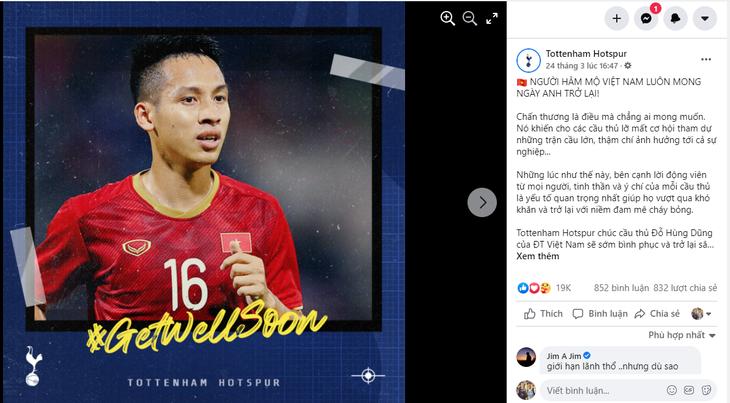 Fußballklub Tottenham beglückwünscht Mittelfeldspieler Do Hung Dung den baldigen Rückkehr  - ảnh 1