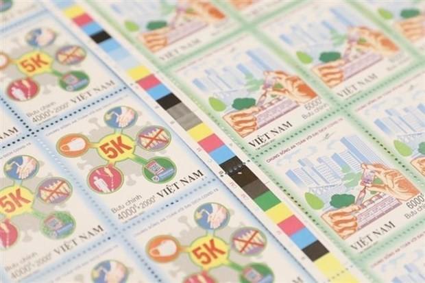 """Herausgabe des Briefmarkensets """"Sicheres Leben mit Covid-19-Pandemie"""" - ảnh 1"""