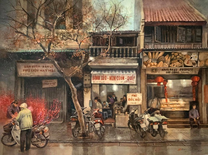 Bewunderung für Bilder des Malers Hoang Phong über Hanoi: Malen mit der Liebe - ảnh 11