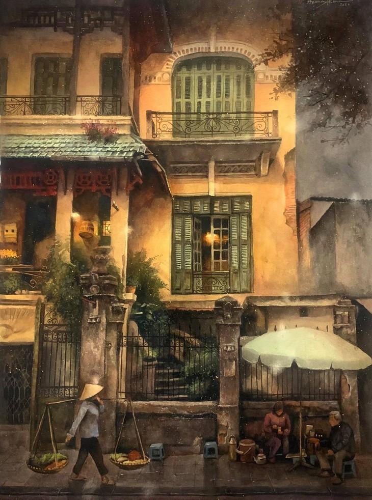 Bewunderung für Bilder des Malers Hoang Phong über Hanoi: Malen mit der Liebe - ảnh 4