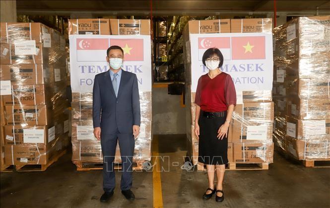 สถานเอกอัครราชทูตเวียดนามในสิงคโปร์รับสิ่งของช่วยเหลือจากกองทุนเทมาเส็ก - ảnh 1
