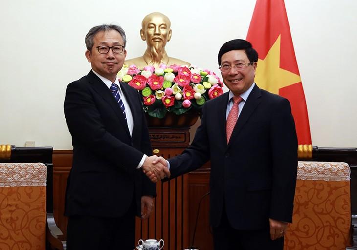 越南政府副总理兼外长范平明会见日本驻越大使山田贵雄 - ảnh 1