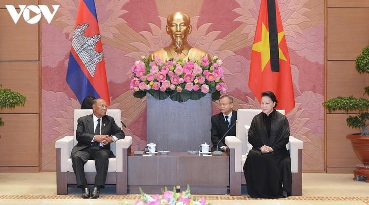 越南国会主席阮氏金银会见柬埔寨国会主席韩桑林 - ảnh 1