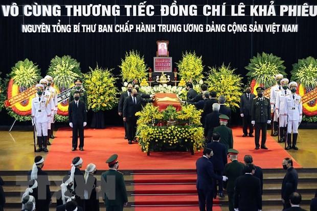 各国领导人向越南党、国家、人民和原越共中央总书记黎可漂家属致唁电 - ảnh 1