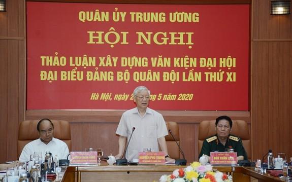 Parteikonferenz der Zentralvolksarmee diskutiert Entwurf der Berichte der Vertreterkonferenz der Volksarmee - ảnh 1