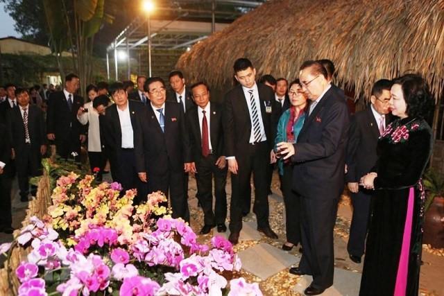 조선노동당 지도자 대표단, 단 호아이 (Đan Hoài) 합작사 난초 재배 시설 방문 - ảnh 1