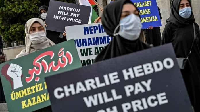 Istanbul: manifestation contre la publication des caricatures de Mahomet par Charlie Hebdo - ảnh 1