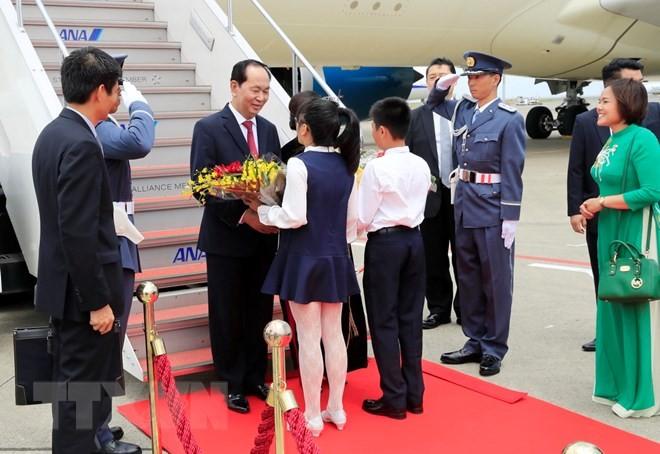 Президент СРВ Чан Дай Куанг прибыл в Японию с государственным визитом - ảnh 1