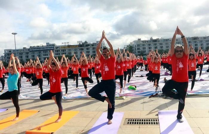 Во Вьетнаме около 3000 человек отпраздновали Международный день йоги - ảnh 1
