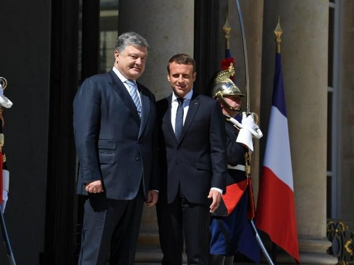 Emmanuel Macron a reçu le président ukrainien Petro Porochenko à l'Elysée - ảnh 1