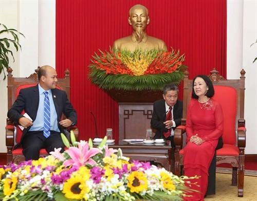 Trưởng Ban dân vận trung ương tiếp đoàn đại biểu Hội liên hiệp thanh niên Campuchia  - ảnh 1